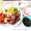シャンゼリゼ - 料理写真:りんごジュース(100%)、サラダ、ベーコン、イカメンチ、温泉卵、長芋の梅酢漬け、ネバネバわかめ