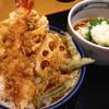 天丼てんや - 料理写真:真鯛の小天丼と冷やし塩レモン小うどんセット830円