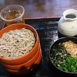 39615266 - 割子三段そば(薬味…刻み海苔・ネギ・鰹節・大根おろし・生姜) ¥750-