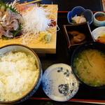 魚河岸割烹さかなや千本一 - 活アジタタキ定食1500円