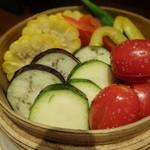 旬鮮炭火焼 獺祭 - 旬の野菜の蒸篭蒸し