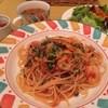 テンポ ディ ケイ - 料理写真:ある日のAランチ(海老とキノコのトマトスパゲティ)(他ドリンク付)865円