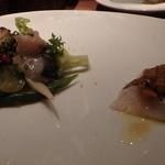 Osteria da K.[kappa]  - サゴシのカルパッチョと野菜をあしらった酢〆にしたカマスや真だこ