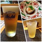 なか井 - 生ビール・つきだし・梅酒ソーダ割