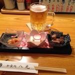 和食処八光 - お通し(ミル貝の酢味噌あえ、牛乳豆腐、鮪の角煮)