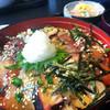 味のれん多幸 - 料理写真:とても美味しいです! 写真はごはん大盛りです。  漬けの海鮮丼、サラダと味噌汁付き1,300円