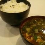 キッチン ダイシン - 定食セットのライスと味噌汁
