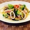 Cafe ゆるり - 料理写真:日替わりパスタ(イカと茄子、ブロッコリーのパスタ)