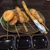 串揚げ くし三 - 料理写真:左から、玉葱、豚ヒレ、鯨、穴子、アスパラ、牛ロース