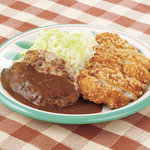 キッチンセブン街のハンバーグ屋さん - ハンバーグ&チキンカツ定食 550円