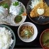 Sashimiwashokuasahiya - 料理写真:活マダイ刺身・さくさくアジフライ付