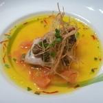 40233399 - 銚子港直送 メバルの炭火焼 サフラン風味のスープ仕立て