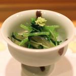 40238155 - 芋茎(蓮芋)と水菜とカイワレの山葵醤油和え (2015/07)