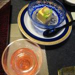 湯主一條 - 食前酒:自家製フランボワーズ、先付:南瓜寄せ ラディッシュ じゅんさい 旨出汁