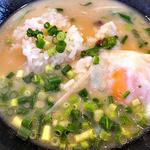 麺場 ふうらいぼう - 「濃厚しおらーめん」のスープに「温玉付おじやごはん」投入!(2015年7月)