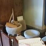 茶房もちつき庵 - 入口付近にあった杵と石臼。 雰囲気があっていいですね~♪