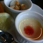 レストラン 宙 - デザートのプリンと白玉だんご