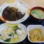 大衆食堂 半田屋 - 黒ビーフカレー・水餃子・切干大根・ハーフ豚汁