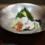 与志福 - 縞海老 こち 鱧の焼き霜 白イカ