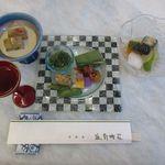 延対寺荘 - 焼き茄子そうめん流し、旬の前菜盛り、冷やし煮物(2015/07/27撮影)