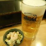 玄海寿司 本店 - 生ビール中ジョッキ&その日のお通し