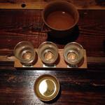 40801057 - 今宵の利き酒セット  大吟醸 天の戸  純米吟醸 六舟  純米酒 春霞  へ  純米酒の阿櫻を一合プラス