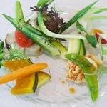 40810300 - 豚肉コンフィ イカブッタネスカ  鱈(タラ)テリーヌ&野菜の盛り合わせ