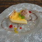 ハーミットグリーンカフェ - チーズケーキはきれいな盛り付け