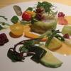 ハナコマチ - 料理写真:水俣産足赤海老と高木農園自然栽培おくら、クルン農園茄子のテリーヌ、足赤海老のサヴァイヨン、熊本のお野菜添え