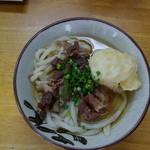 味庄 - 肉うどん&玉子の天ぷら