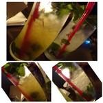 ソルファミリア - ドリンク写真:◆モヒート・・其々950円 左:オレンジモヒート・・ほんのりオレンジの味がします。薄めですが、暑い日にはスッキリしますよ。 右:ジンジャーモヒート