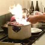 41119473 - ファイア~(^o^)藁焼きです。