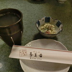 寿美吉 - Aug, 2015'「蕎麦和尚」500円、お通し(サツマイモのポテサラ)
