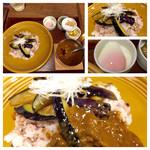 41222307 - 「荒挽肉と揚げ茄子のカレ-~温泉玉子添え~」1,080円。初日は上手だった野菜の火入れがイマイチでしたので、ナスがかなり油を吸ってしんなりしすぎでした(^_^;)ひき肉カレーは美味しいと思います。