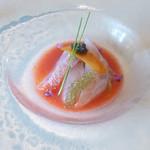 41235233 - ガスパチョと焼き茄子のタルタル 天然鮮魚のカルパッチョ