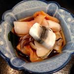 たから舟 - 貝の酢の物、でっかいホタテ、赤貝、アワビ、鳥貝、たっぷり!1500円。