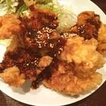 博多 慶州 - 唐揚げ定食。甘めのタレがかかってて、これがとても旨かったです。好きな味です。ご馳走様でした。