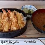 満る善 - 天ぷら 満る善 @森下 天丼(上) 1,100円 + 蜆の味噌汁 200円(共に税込)