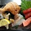 宝来寿司 - 料理写真:刺身盛り合わせ(本マグロ赤身・中トロ、鯛、イナダ、ツブ貝)(H27.8.15撮影)