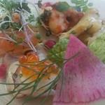 ラ・エテルニータ - サーモン、鮑、小海老の前菜