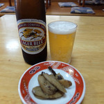 平和園 - 201509 ビールのお通しはゴボウの煮物