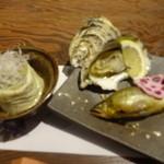 山暖 - 江田島産焼き牡蠣と鮎の塩焼き