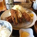 きよし - フライ盛合せ御膳¥890 (ナスチーズ、ピーマン肉詰め、エリンギ肉巻き)