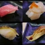 スシロー - 国産本鮪中とろ/北海道紋別の帆立てんこ盛り/蒸しあわび/大あなご