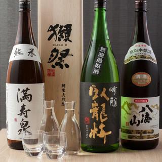 梵、越乃寒梅、獺祭などの日本酒を豊富に取り揃えております。
