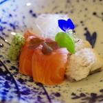 徳山鮓 - 琵琶鱒のお造り、鰻の落とし