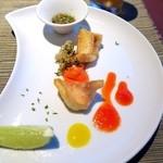 風のテラスKUKUNA - カサゴのフリット パルミジャーノのカリカリパン粉とピーマンのムース