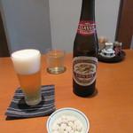 七つ海堂 - ビール小瓶・お通し(2015/9)
