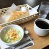 カフェスワン - 料理写真:モーニング Aセット 380円 (バタートースト・ゆで卵・サラダ・ホットコーヒー)