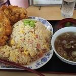 中華料理 タカノ - チャーハン大盛 鶏の唐揚げ付き 800円